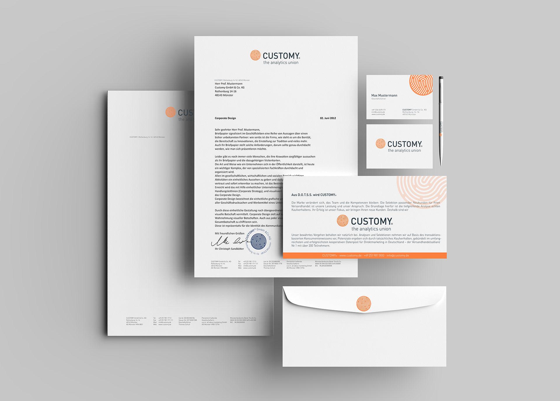 Hochwertige Briefbögen, Visitenkarten, Postkarten und Stifte passend zum Corporate Design und Branding